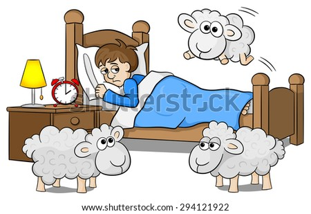 vector illustration of sheep jumping over the bed of a sleepless man - stock vector