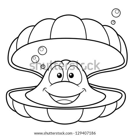 Vector illustration of shell cartoon - Coloring book - stock vector