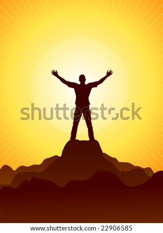 Vector illustration of shilouetted man standing in front of a sun disc on a mountain's peak - stock vector