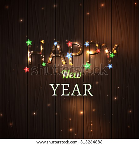 Vector illustration of shining Happy New Year typography on a dark brown Christmas background with stars and lights. Useful illuminated abstract backdrop for the New Year postcard, poster - stock vector