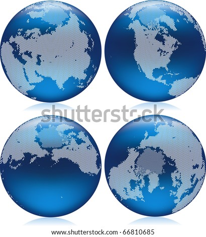 Vector illustration of shiny blue Earth globe with round dots on northern hemisphere - stock vector
