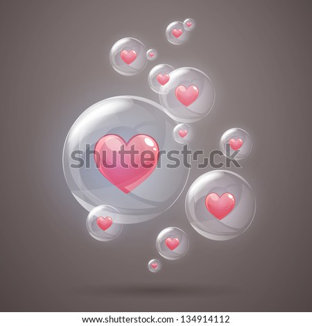 Vector Illustration of Shiny Bubbles with Hearts - stock vector