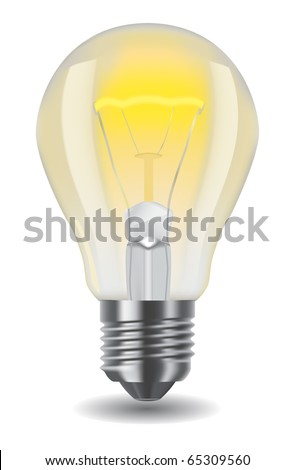 Vector illustration of shiny classic light bulb - stock vector