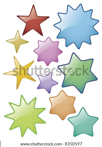 Vector illustration of Shiny Glass effect Star Icons