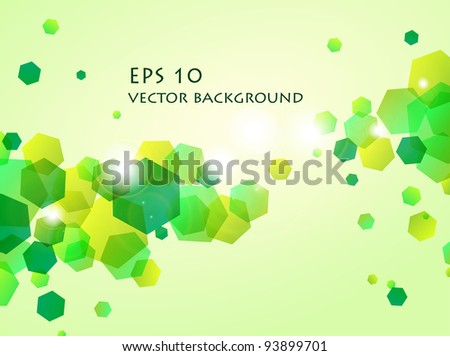 vector illustration of shiny green hexagon background