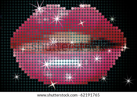 Vector Illustration of Shiny Lips on Screen - stock vector