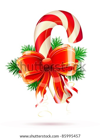 Vector illustration of shiny red Christmas candy cane with bow and evergreen branches - stock vector