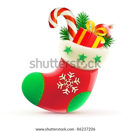 Vector illustration of shiny red Christmas stocking with cool presents - stock vector
