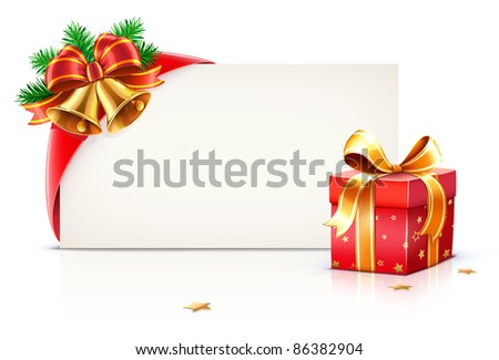 Vector illustration of shiny red gift ribbon wrapped around a rectangle like a present or letter with Christmas elements - stock vector