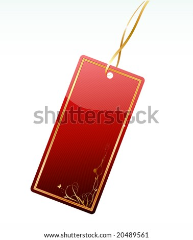 Vector illustration of shiny red price tag with floral decoration element - stock vector