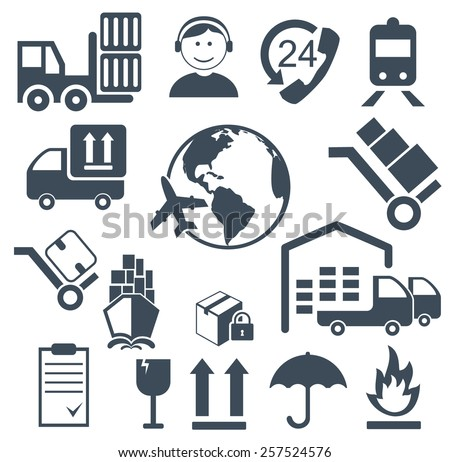 Vector illustration of shipping and cargo icons  - stock vector