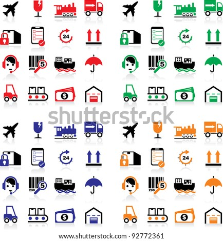 Vector illustration of shipping icons in 4 colors. - stock vector