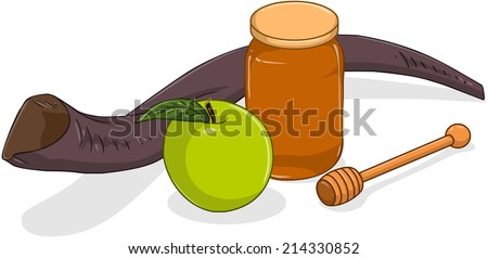 Vector illustration of shofar apple and honey jar for yom kippur  - stock vector