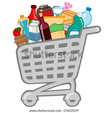 Vector illustration of shopping cart full of different products. - stock vector