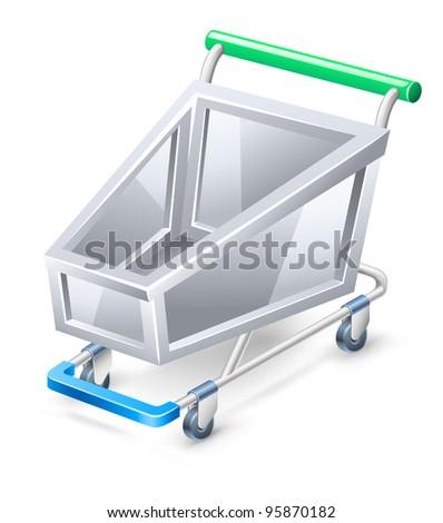 Vector illustration of shopping cart on white background. - stock vector