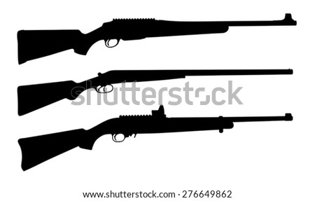 Vector illustration of shotguns silhouettes - stock vector