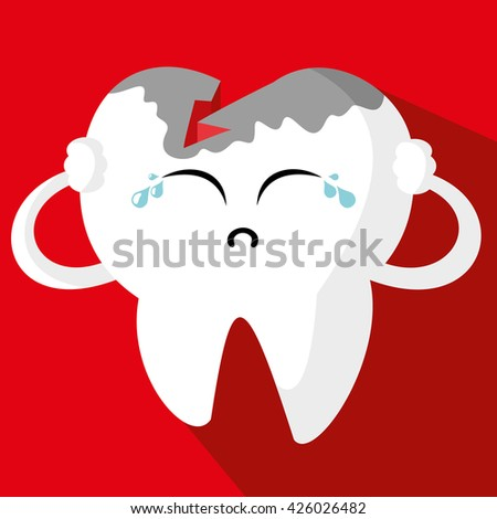 Vector illustration of sick sorrowful cartoon tooth character