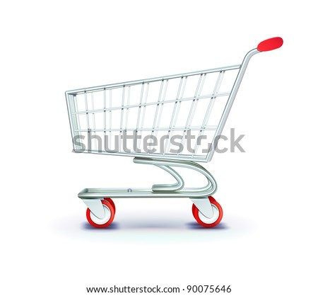 Vector illustration of side view empty supermarket shopping cart isolated on white background. - stock vector
