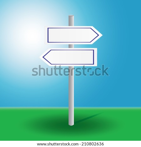 vector illustration of signpost to decide direction on grass and blue background with sun - stock vector