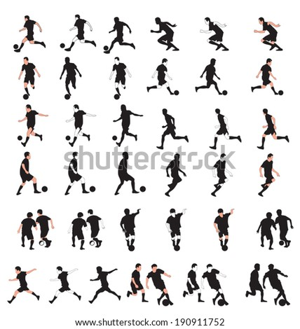 Vector illustration of silhouette football player