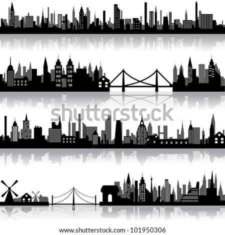 vector illustration of silhouette of city scape - stock vector