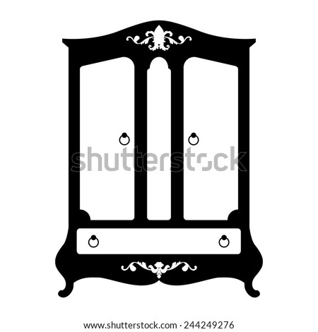 Vector illustration of silhouette of retro cupboard in baroque style isolated on white background - stock vector