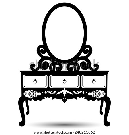 Vector illustration of silhouette of retro dressing console and mirror in baroque style isolated on grey background - stock vector