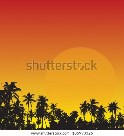 Vector illustration of silhouette palm trees - stock vector