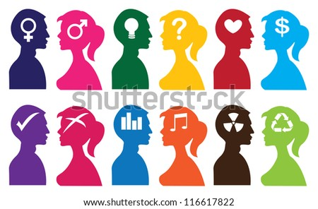 Vector illustration of silhouette people with idea thoughts/symbols. - stock vector