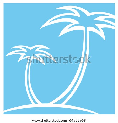 Vector illustration of silhouette two palm trees