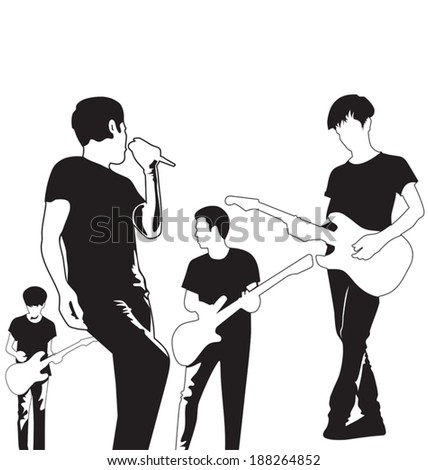 Vector illustration of  silhouettes music band - stock vector