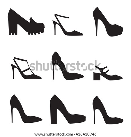 Vector illustration of silhouettes of modern shoes on white background. Shoes icons set. Flat design