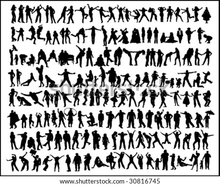 vector illustration of silhouettes of the people