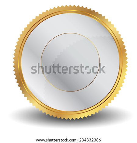 Vector illustration of silver and gold seal - stock vector