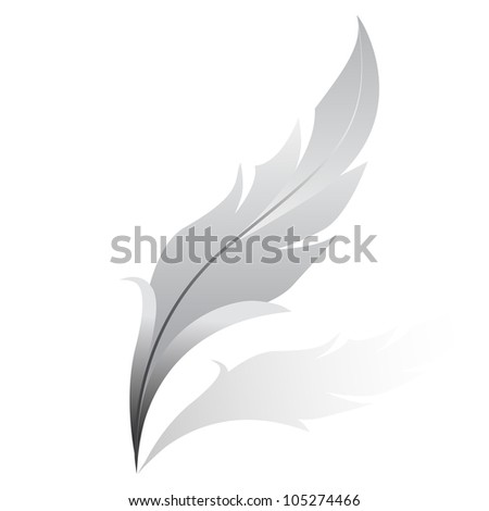 Vector illustration of silver feather - stock vector