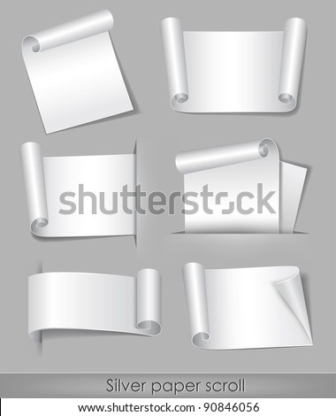 vector illustration of silver paper scroll - stock vector