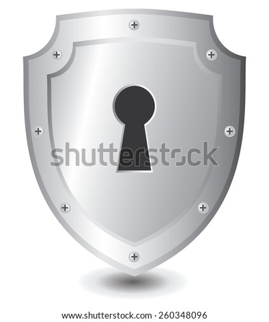 Vector illustration of Silver shield : Security concept. - stock vector