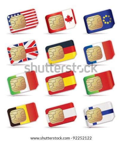 Vector illustration of SIM Cards with flags. - stock vector