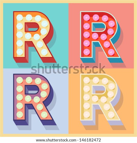 Vector illustration of simple and clear flat lamp alphabet. Letter r - stock vector