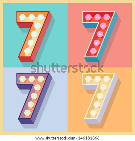 Vector illustration of simple and clear flat lamp alphabet. Number 7 - stock vector