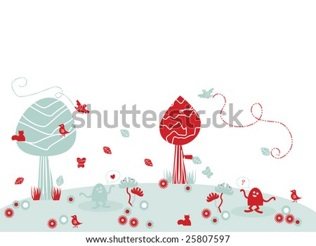 Vector illustration of simple, funny, naive landscape with trees, flowers and birds