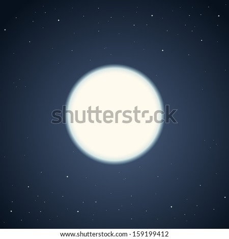 Vector illustration of simple glowing white moon on the dark night sky background full of stars. - stock vector