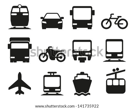 Vector illustration of simple monochromatic vehicle and transport related icons for your design or application. - stock vector