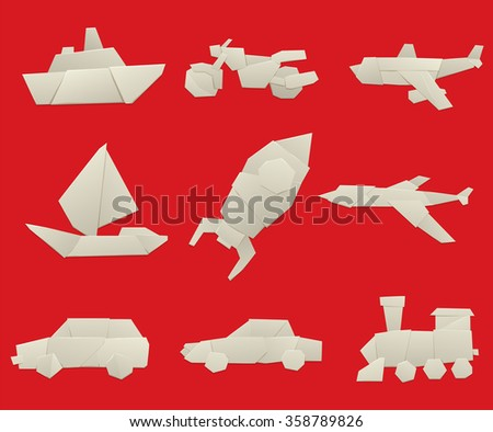 Vector illustration of simple origami paper vehicle and transport icons. Origami transport collection isolated on background. Origami transport design vector. Travel transport - stock vector