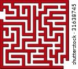 Vector illustration of Simple red maze - stock photo