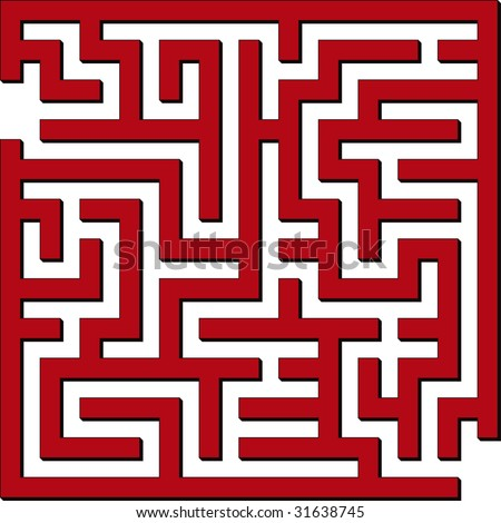 Vector illustration of Simple red maze - stock vector