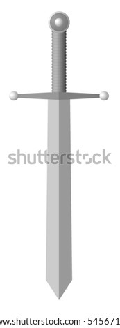 Vector illustration of simple sword - stock vector