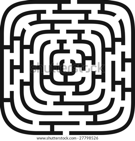 vector illustration of simple vector maze - stock vector