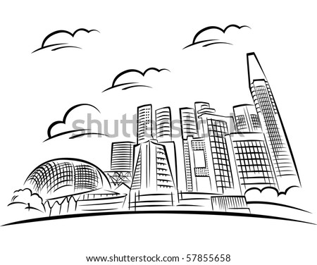 Vector illustration of Singapore Skyline. - stock vector