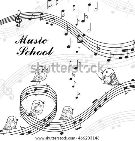 Vector illustration of singing birds and musical elements in black and white style. Music school lettering.